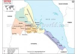 Political Map of Eritrea - Digital File