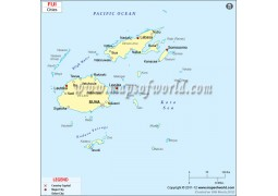 Fiji Map with Cities - Digital File
