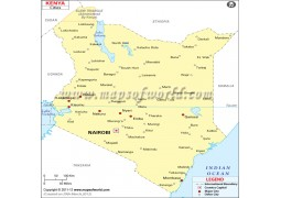 Map of Kenya with Cities - Digital File