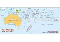 Australien Kontinent Politisch Karte - Digital File