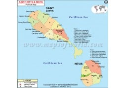 St. Kitts and Nevis Map - Digital File