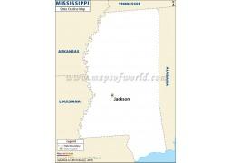 Blank Map of Mississippi - Digital File