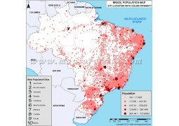 Brazil Most Populated Cities Map - Digital File