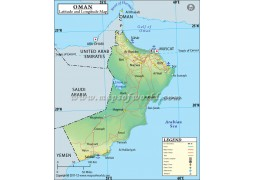 Oman Latitude and Longitude Map