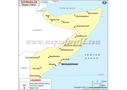 Somalia Map with Cities - Digital File