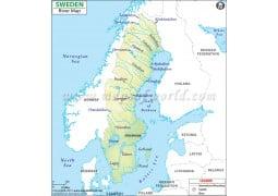 Sweden River Map - Digital File