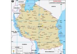 Tanzania Latitude and Longitude Map - Digital File