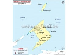 Trinidad and Tobago Cities Map - Digital File