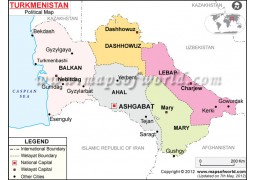Political Map of Turkmenistan - Digital File