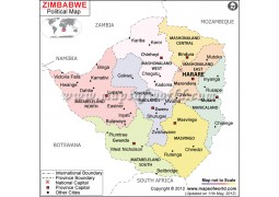 Political Map of Zimbabwe - Digital File