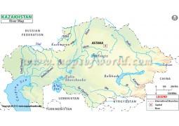 Kazakhstan River Map - Digital File