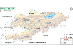 Kyrgyzstan River Map - Digital File