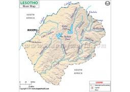 Lesotho River Map - Digital File