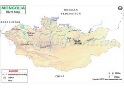Mongolia River Map - Digital File