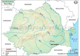 Romania River Map - Digital File