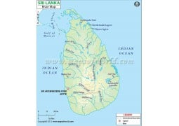 Sri Lanka River Map - Digital File