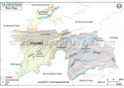 Tajikistan River Map - Digital File
