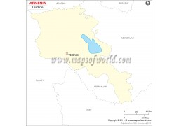 Armenia Outline Map - Digital File