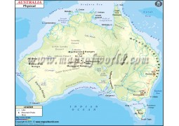 Physical Map of Australia - Digital File