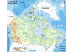 Physical Map of Canada - Digital File