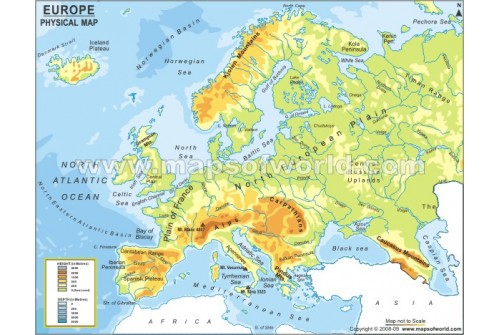 Buy Physical Map of Europe Continent – Map of Europe Continent