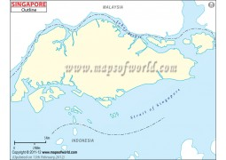 Singapore Outline Map - Digital File