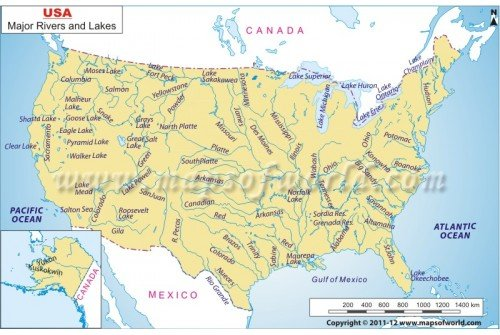 US Rivers and Lakes Map