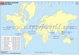 Top Ten Largest Oceans and Seas Map - Digital File