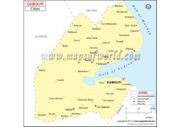 Djibouti Cities Map - Digital File