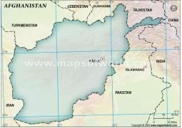 Afghanistan Blank Map, Dark Green