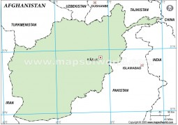 Afghanistan Outline Map, Green Color
