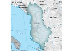 Albania Blank Map in Gray Color - Digital File
