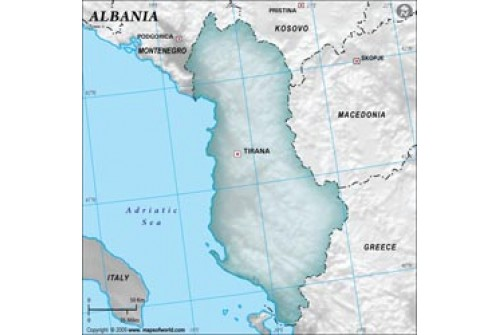 Albania Blank Map in Gray Color