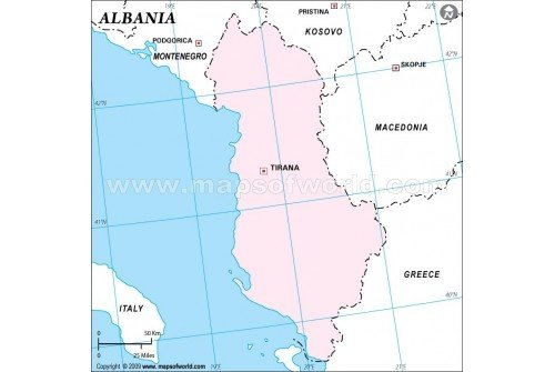 Albania Outline Map in Pink Color