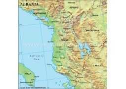 Albania Physical Map in Dark Green Background - Digital File