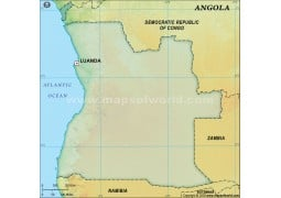 Angola Blank Map in Dark Green Background - Digital File