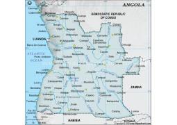 Angola Digital Map - Gray Color - Digital File