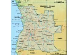 Angola Digital Map - Dark Green - Digital File