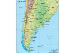 Argentina Physical Map, Dark Green