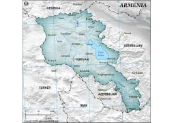 Armenia Physical Map with Cities in Gray Background - Digital File