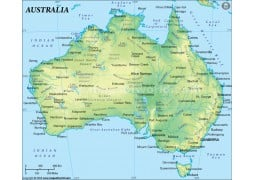 Australia Physical Map in Green Background - Digital File