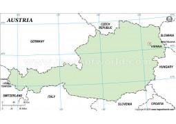 Austria Outline Map, Green  - Digital File