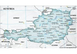 Austria Physical Map with Cities in Gray Background