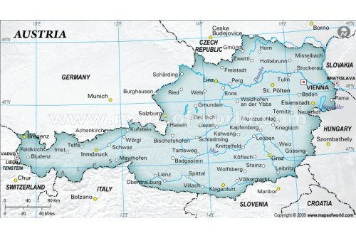 Buy Austria Physical Map With Cities In Gray Background - Physical map of austria