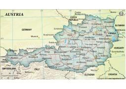 Austria Political Map in Dark Green Color - Digital File