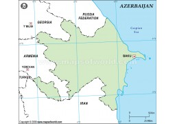Azerbaijan Outline Map in Green Color