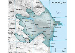 Azerbaijan Physical Map with Cities in Gray Color - Digital File