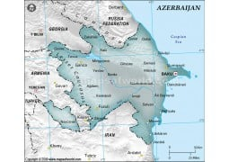 Azerbaijan Physical Map with Cities in Gray Color