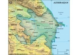 Azerbaijan Political Map, Dark Green  - Digital File