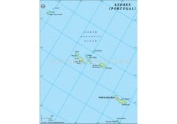 Azores Physical Map